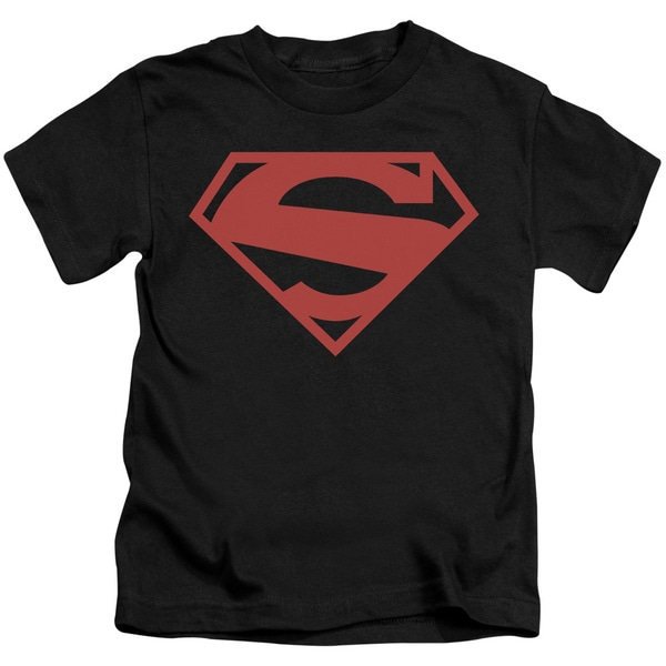Superman/52 Red Block Short Sleeve Juvenile Graphic T-Shirt in Black