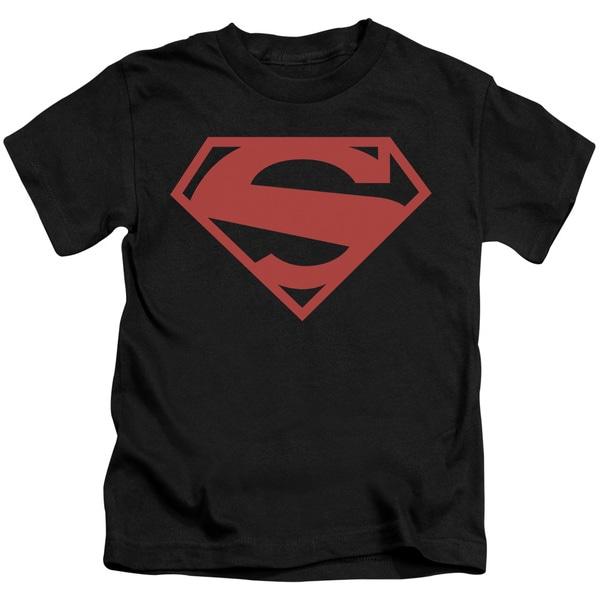 Superman/52 Red Block Short Sleeve Juvenile Graphic T-Shirt in Black
