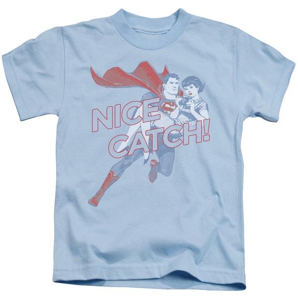 Superman/Nice Catch Short Sleeve Juvenile Graphic T-Shirt in Light Blue