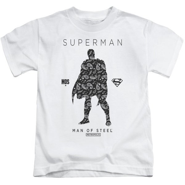 Superman/Paisley Sihouette Short Sleeve Juvenile Graphic T-Shirt in White