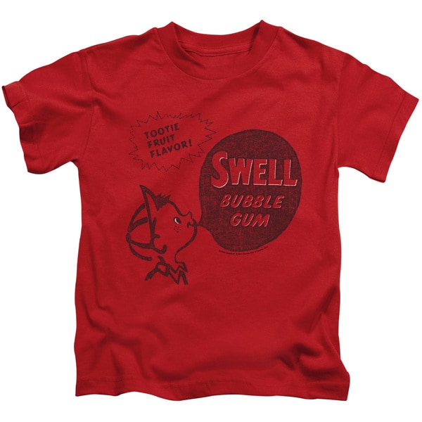 Dubble Bubble/Swell Gum Short Sleeve Juvenile Graphic T-Shirt in Red