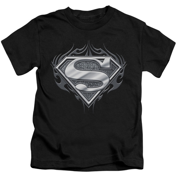 Superman/Biker Metal Short Sleeve Juvenile Graphic T-Shirt in Black