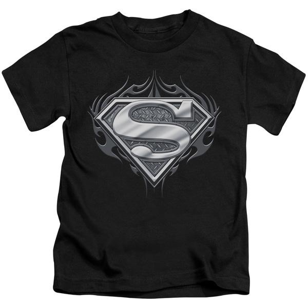 Superman/Biker Metal Short Sleeve Juvenile Graphic T-Shirt in Black