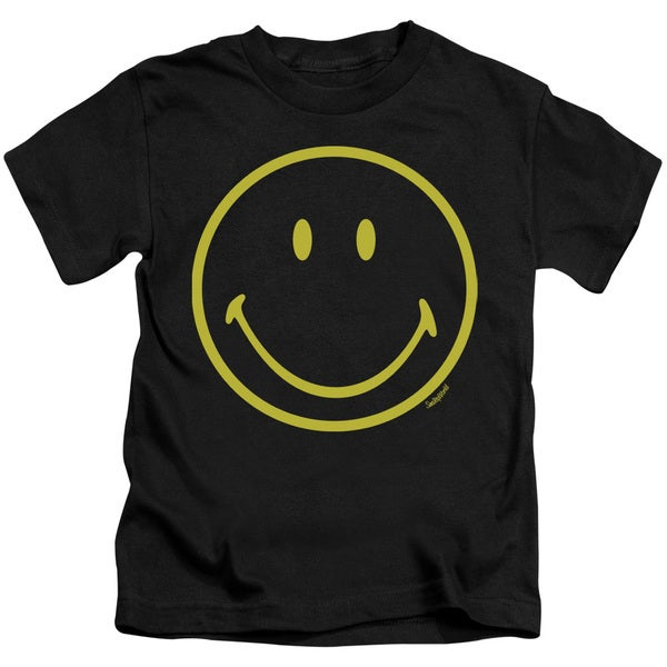 Smiley World/Yellow Line Smiley Short Sleeve Juvenile Graphic T-Shirt in Black