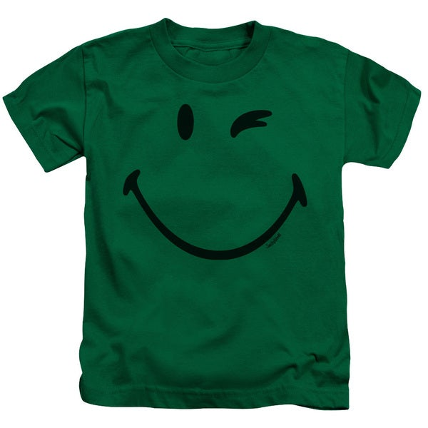 Smiley World/Big Wink Short Sleeve Juvenile Graphic T-Shirt in Kelly Green
