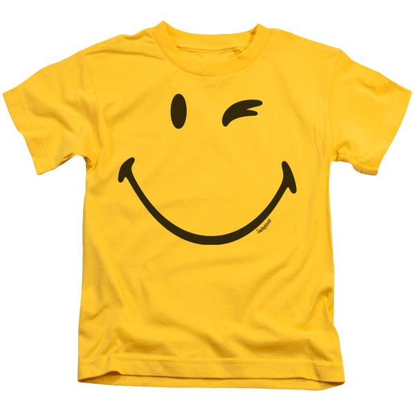 Smiley World/Big Wink Short Sleeve Juvenile Graphic T-Shirt in Yellow