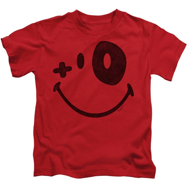 Smiley World/Fight Club Short Sleeve Juvenile Graphic T-Shirt in Red