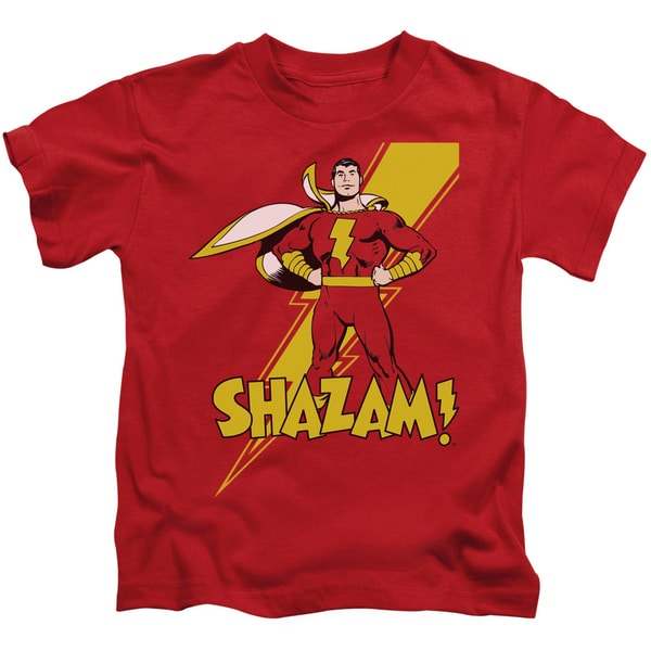 DC/Shazam! Short Sleeve Juvenile Graphic T-Shirt in Red