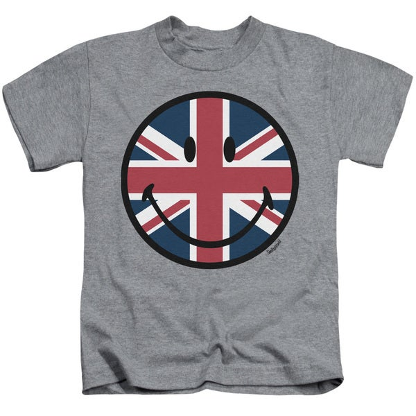 Smiley World/Union Jack Face Short Sleeve Juvenile Graphic T-Shirt in Heather