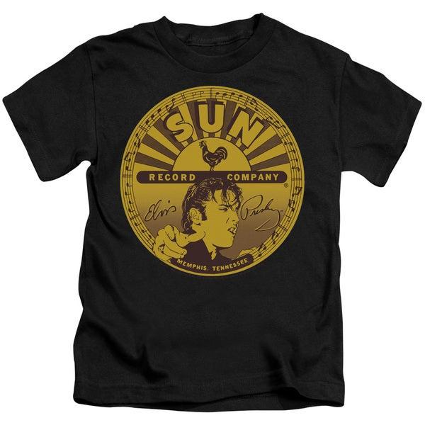 Sun/Elvis Full Sun Label Short Sleeve Juvenile Graphic T-Shirt in Black