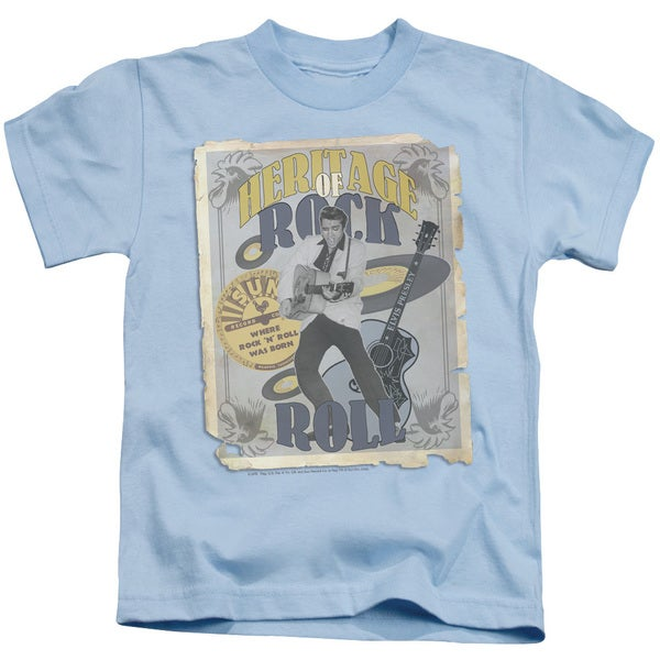 Sun/Heritage Of Rock Poster Short Sleeve Juvenile Graphic T-Shirt in Light Blue