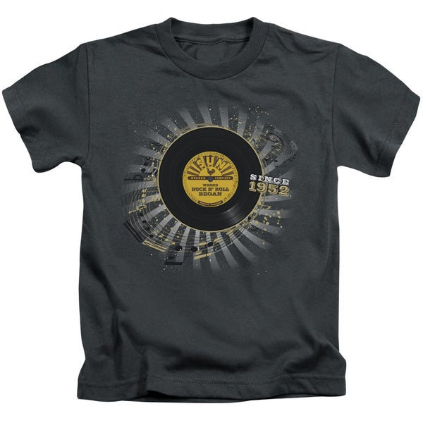 Sun/Established Short Sleeve Juvenile Graphic T-Shirt in Charcoal