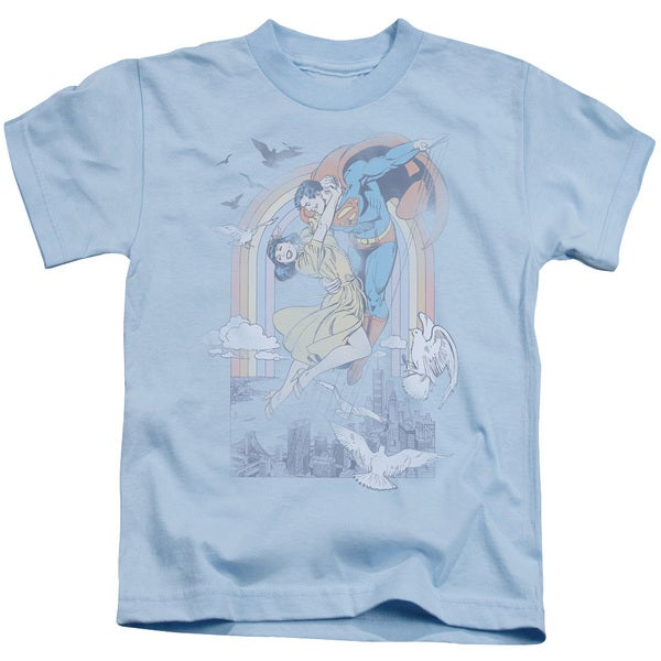 DC/Rainbow Love Short Sleeve Juvenile Graphic T-Shirt in Light Blue