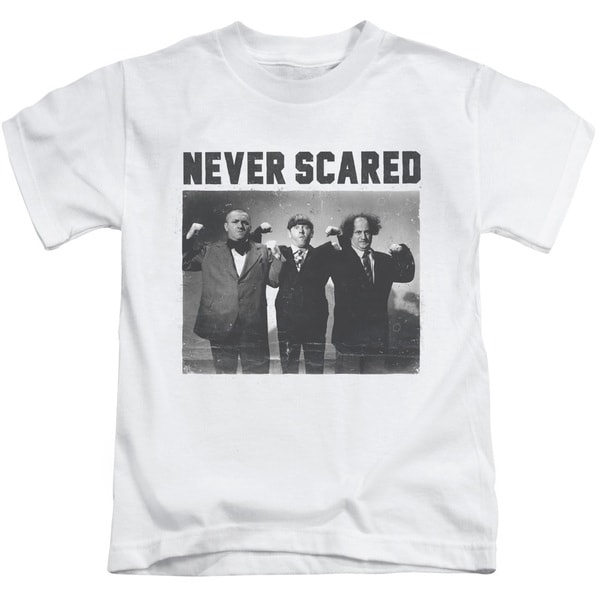 Three Stooges/Never Scared Short Sleeve Juvenile Graphic T-Shirt in White