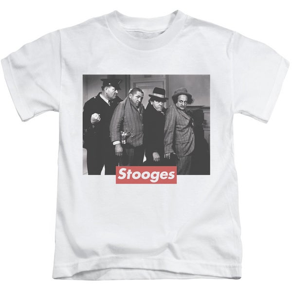 Three Stooges/Supreme Rip Short Sleeve Juvenile Graphic T-Shirt in White