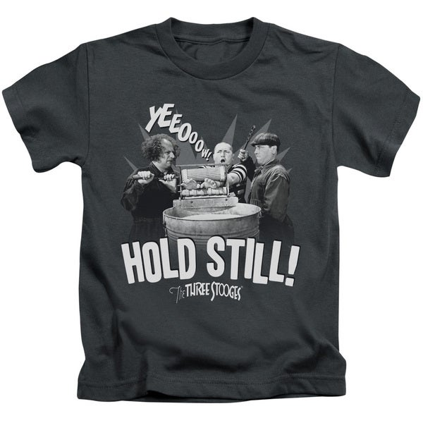 Three Stooges/Hold Still Short Sleeve Juvenile Graphic T-Shirt in Charcoal