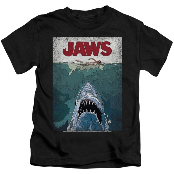Jaws/Lined Poster Short Sleeve Juvenile Graphic T-Shirt in Black