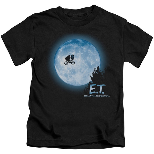 ET/Moon Scene Short Sleeve Juvenile Graphic T-Shirt in Black