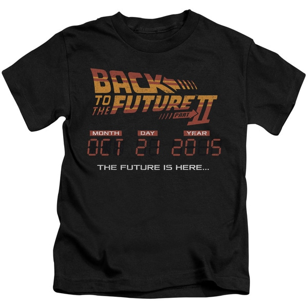 Back To The Future Ii/Future Is Here Short Sleeve Juvenile Graphic T-Shirt in Black