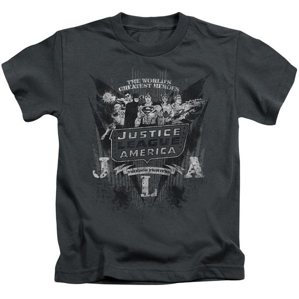 DC/Greatest Heroes Short Sleeve Juvenile Graphic T-Shirt in Charcoal