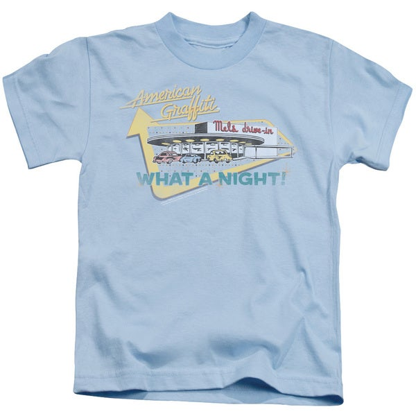 American Grafitti/Mel's Drive in Short Sleeve Juvenile Graphic T-Shirt in Light Blue