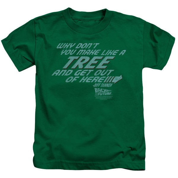 Back To The Future/Make Like A Tree Short Sleeve Juvenile Graphic T-Shirt in Kelly Green