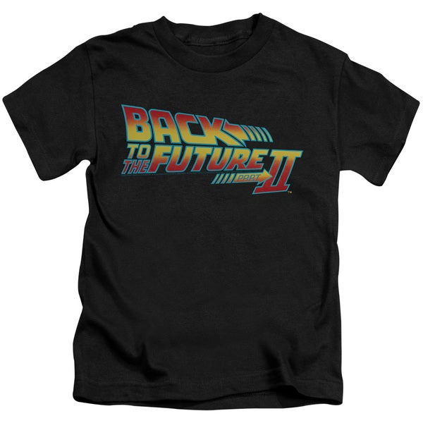Back To The Future Ii/Logo Short Sleeve Juvenile Graphic T-Shirt in Black