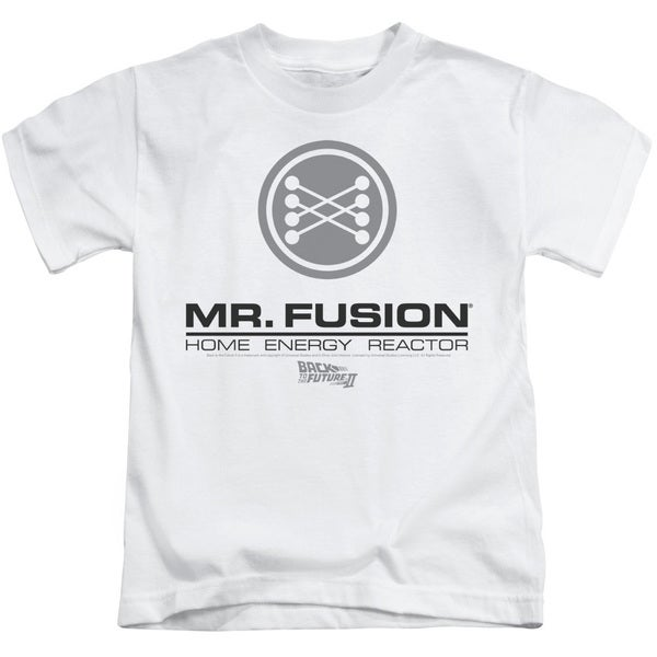 Back To The Future Ii/Mr. Fusion Logo Short Sleeve Juvenile Graphic T-Shirt in White
