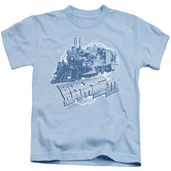 Back To The Future Iii/Time Train Short Sleeve Juvenile Graphic T-Shirt in Light Blue