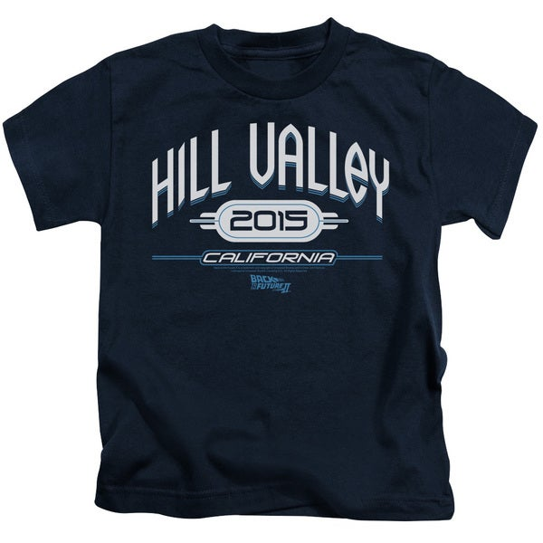 Back To The Future Ii/Hill Valley 2015 Short Sleeve Juvenile Graphic T-Shirt in Navy