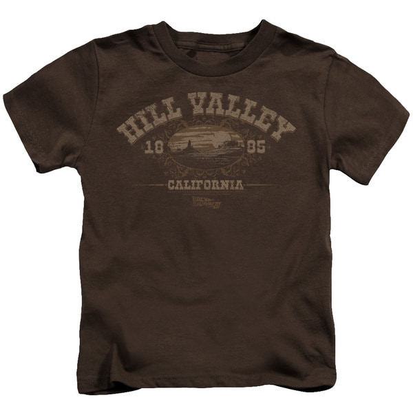 Back To The Future Iii/Hill Valley 1885 Short Sleeve Juvenile Graphic T-Shirt in Coffee