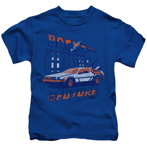Back To The Future/Lightning Strikes Short Sleeve Juvenile Graphic T-Shirt in Royal Blue