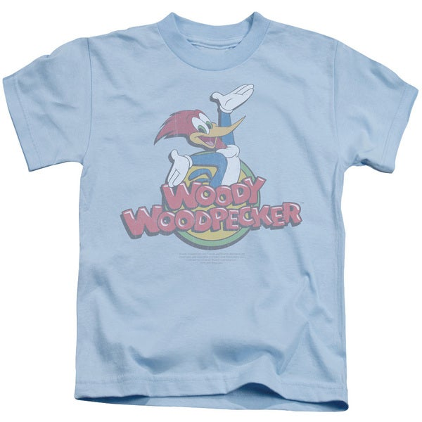 Woody Woodpecker/Retro Fade Short Sleeve Juvenile Graphic T-Shirt in Light Blue