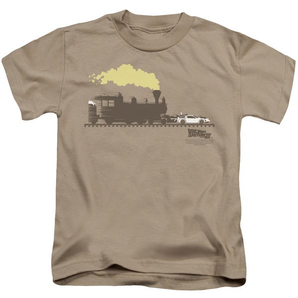 Back To The Future Iii/Pushing The Delorean Short Sleeve Juvenile Graphic T-Shirt in Sand