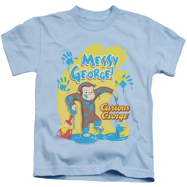 Curious George/Messy George Short Sleeve Juvenile Graphic T-Shirt in Light Blue