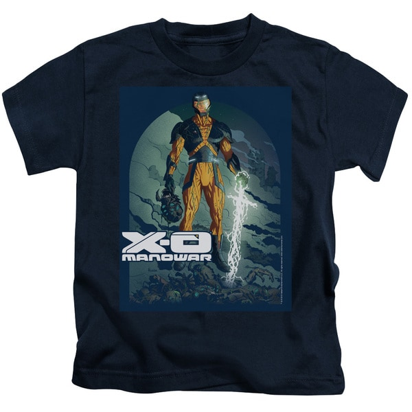 Xo Manowar/Planet Death Short Sleeve Juvenile Graphic T-Shirt in Navy