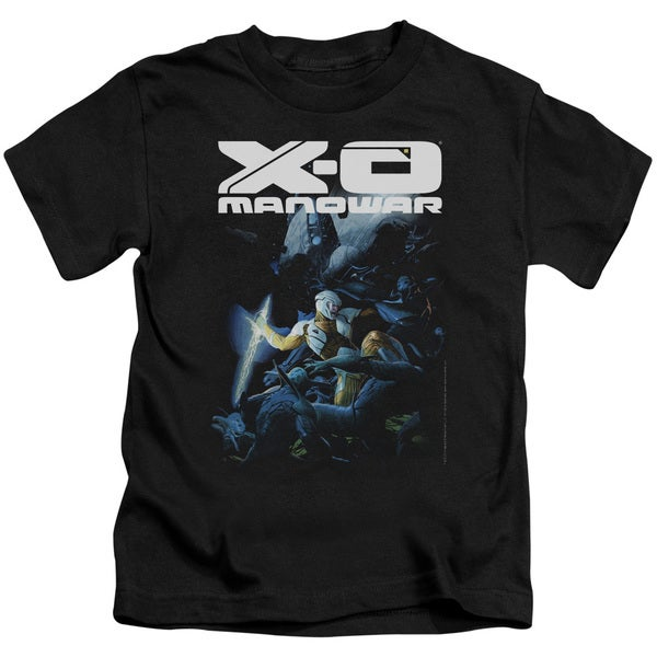 Xo Manowar/By The Sword Short Sleeve Juvenile Graphic T-Shirt in Black