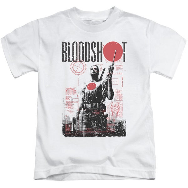 Bloodshot/Death By Tech Short Sleeve Juvenile Graphic T-Shirt in White