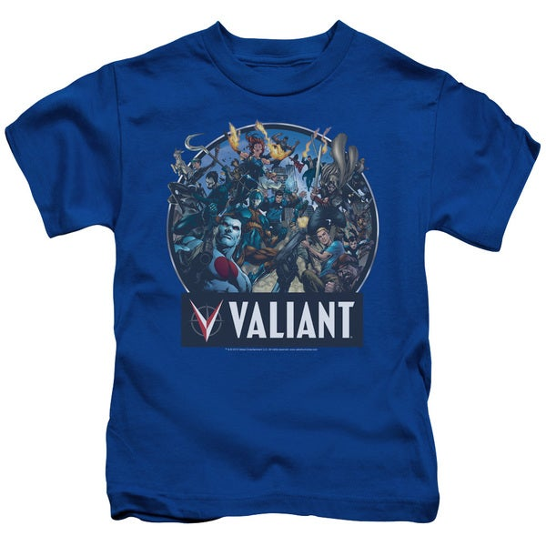 Valiant/Ready For Action Short Sleeve Juvenile Graphic T-Shirt in Royal Blue