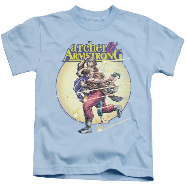 Archer & Armstrong/Vintage A & A Short Sleeve Juvenile Graphic T-Shirt in Light Blue