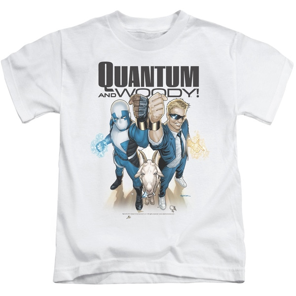 Quantum and Woody/Quantum and Woody Short Sleeve Juvenile Graphic T-Shirt in White