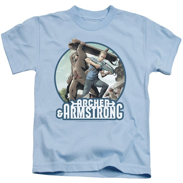 Archer & Armstrong/Trunk and Crossbow Short Sleeve Juvenile Graphic T-Shirt in Light Blue