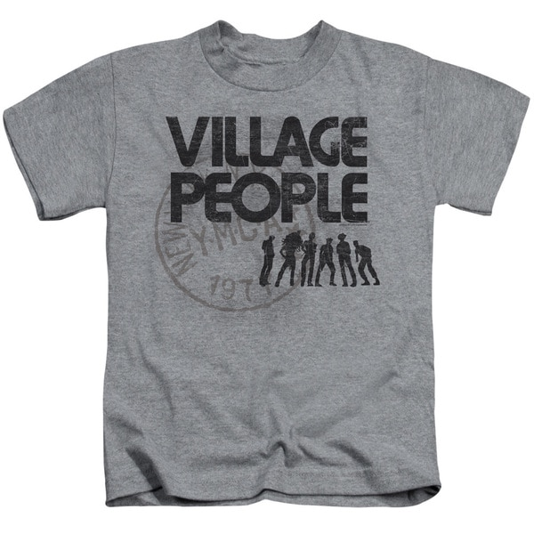 Village People/Stamped Short Sleeve Juvenile Graphic T-Shirt in Athletic Heather