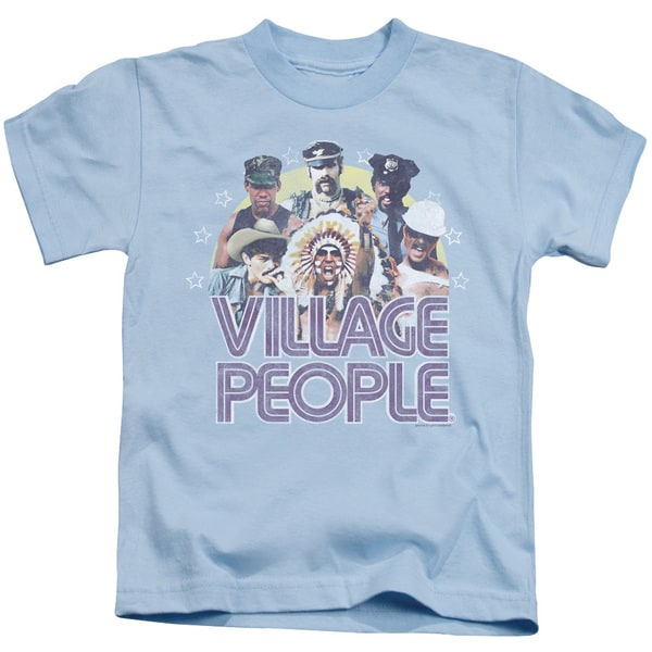 Village People/Group Shot Short Sleeve Juvenile Graphic T-Shirt in Light Blue