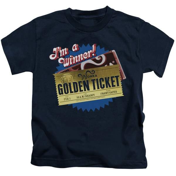 Chocolate Factory/Golden Ticket Short Sleeve Juvenile Graphic T-Shirt in Navy