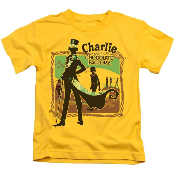 Chocolate Factory/Chocolate River Short Sleeve Juvenile Graphic T-Shirt in Yellow
