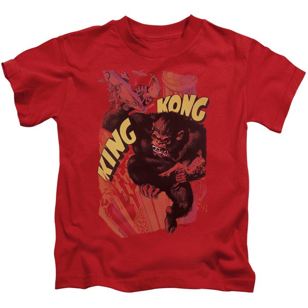 King Kong/Plane Grab Short Sleeve Juvenile Graphic T-Shirt in Red
