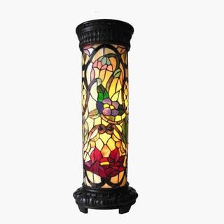 Tiffany Style Floral Design 2-light Antique Bronze Pedestal Lamp