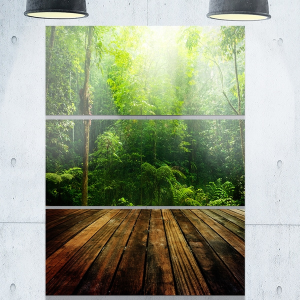 Designart - Green Forest with Ray of Light - Landscape Photo Glossy Metal Wall Art 20756185