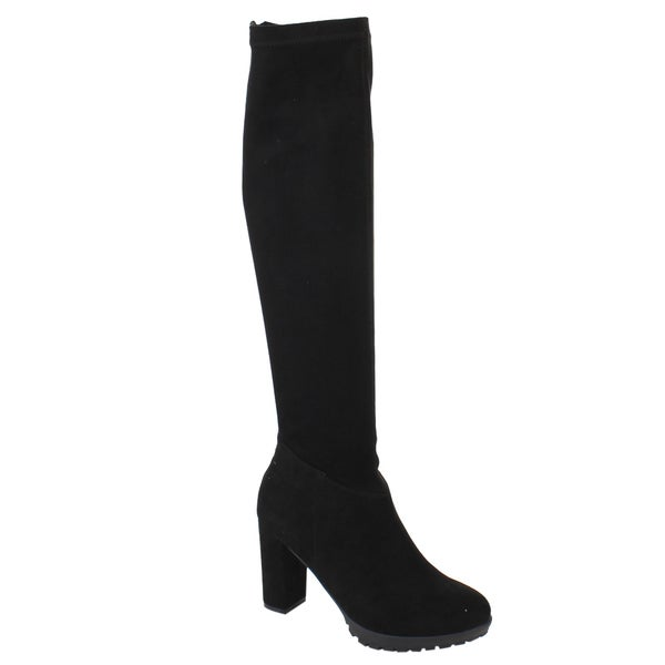 Nature Breeze Women's FE43 Stretchy Over-the-knee Chunky Block Heel Boots